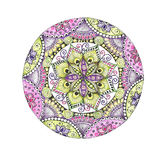 Mandala colorful watercolor. Beautiful vintage round pattern. Hand drawn abstract background. Decorative isolated. Invitation, t-shirt print, wedding card Stock Photography