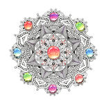 Mandala colorful watercolor with jewel stones. Royalty Free Stock Photography