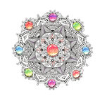 Mandala colorful watercolor with jewel stones. Watercolor colorful mandala with jewel stones. Beautiful vintage round pattern. Hand drawn abstract background Stock Photo
