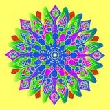 Mandala colorida brilhante no fundo amarelo Elemento redondo Fotos de Stock Royalty Free