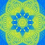 Mandala colorida de la teja del ornamento abstracto llamativo en puerto deportivo azul y amarillo libre illustration