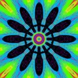 Mandala colorida do ornamento abstrato garrido no formulário da flor escura ilustração stock