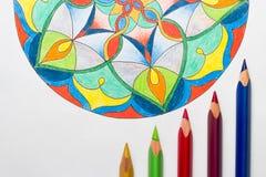 Mandala colorida elegante no fundo branco com o colorf Fotos de Stock