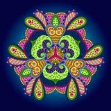 Mandala colorida en un fondo azul Fotografía de archivo libre de regalías