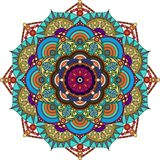 Mandala colorida, púrpura, verde, gris, colores oro imagenes de archivo