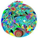Mandala colorida sumário Vista alternativa Nenhuma simetria Mão-Dr. ilustração stock