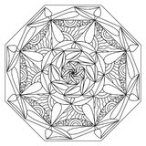 Mandala coloring for adult. Black and white pattern. royalty free illustration