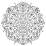Mandala for coloring book page. For kids and adults. Patterned Design Element. Zentangle style Royalty Free Stock Photography