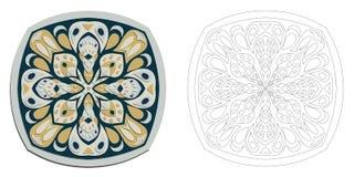 Mandala coloring drawing flower vector Stock Images