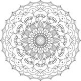 Vector contour Mandala ornament. Oriental round pattern. royalty free stock image