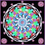 Mandala com estrelas cinco-aguçado ilustração do vetor