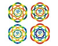 Mandala com símbolo do OM do aum Objetos abstratos do arco-íris Fotografia de Stock