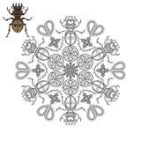 Mandala com um besouro, uns corações e umas formas geométricas Imagem de Stock