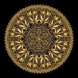 Mandala complessa di Marijiana della cannabis in oro immagine stock