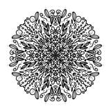 Mandala complicada bonita a colorir, inspirado por natureza, com as folhas, pretas no fundo branco ilustração do vetor