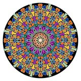 Mandala composed of small colorful slivers. Geometric symmetric round rosette. Stock Photos