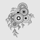 Mandala composition black. Mandala pattern. Tattoo art. Graphic vintage composition in linear style. Vector illustration. T-shirts, print, posters, textiles Royalty Free Stock Images