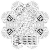 Mandala con el numero dos para colorear Zentangle decorativo del vector Imágenes de archivo libres de regalías