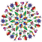 Mandala con gli uccelli colourful Fotografia Stock Libera da Diritti