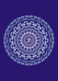 Mandala con il aum di simbolo Priorità bassa artistica Grafici di vettore Immagine Stock