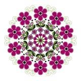 Mandala con las flores rayadas Imágenes de archivo libres de regalías