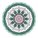 Mandala con los árboles de navidad, los juguetes y las estrellas ilustración del vector