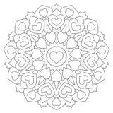 Mandala con los corazones Página del libro de colorear Imagen de archivo libre de regalías