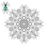 Mandala con un escarabajo Imágenes de archivo libres de regalías