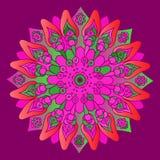 Mandala cor-de-rosa brilhante no fundo roxo Fotografia de Stock