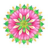 Mandala cor-de-rosa da aquarela da flor ilustração stock