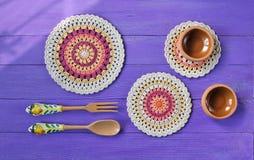 Mandala Crochet Doilies magnífica, cubiertos imagen de archivo