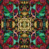 Mandala croisé de fleur, à l'arrière-plan abstrait, Bourgogne, rouge, brun, vert, vert, beige illustration libre de droits