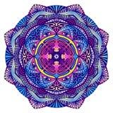 Mandala décoratif avec un oeil tout-voyant dans des couleurs foncées illustration libre de droits