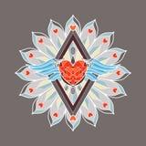 Mandala décoratif coloré avec un coeur et des ailes de diamant au milieu Photographie stock libre de droits
