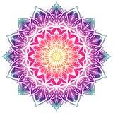 Mandala décoratif coloré dans le gradient d'arc-en-ciel Mandala de pochoir illustration stock