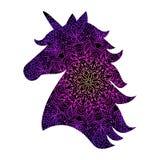 Mandala décoratif de silhouette de licorne Photographie stock