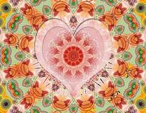Mandala de l 39 amour sur un fond vert mod les ethniques - Mandala amour ...