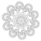 Mandala d'annata nera di coloritura illustrazione di stock