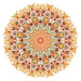 Mandala d'aquarelle avec la géométrie sacrée Dentelle fleurie sur le fond blanc Photographie stock