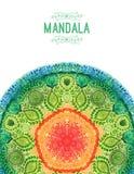 Mandala d'aquarelle de vecteur Décor pour votre conception, ornement de dentelle Modèle rond, style oriental Images libres de droits