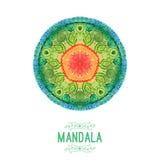 Mandala d'aquarelle de vecteur Décor pour votre conception, ornement de dentelle Modèle rond, style oriental Image stock