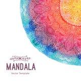 Mandala d'aquarelle, ornement de dentelle fait en modèle rond dans le style oriental Image libre de droits