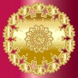 Mandala d'or au-dessus de fond rouge rouge illustration libre de droits