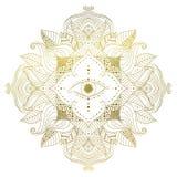 Mandala d'or avec l'oeil à l'intérieur de la fleur illustration stock
