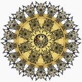 Mandala d'or avec le modèle floral de damassé, arabesque, ornementation, ornement oriental rond Décor finement tissé traditionnel illustration de vecteur