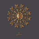 Mandala d'or ornemental de fleur sur le fond gris de couleur Ethni Image stock