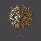 Mandala d'or ornemental de fleur sur le fond gris de couleur Ethni Images libres de droits