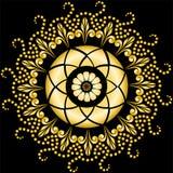 Mandala d'or sur le noir Photographie stock libre de droits