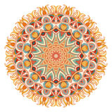 Mandala da aquarela com geometria sagrado Laço ornamentado no fundo branco Fotografia de Stock