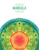 Mandala da aquarela do vetor Decoração para seu projeto, ornamento do laço Teste padrão redondo, estilo oriental ilustração royalty free